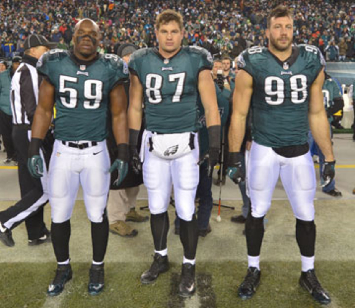 DeMeco Ryans, Brent Celek and Connor Barwin, Philly's captains for the January playoff game against the Saints. (Drew Hallowell/Getty Images)