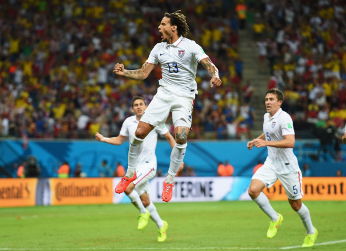 Jermaine Jones celebrates his incredible strike that brought the USA level with Portugal in their second Group G game.