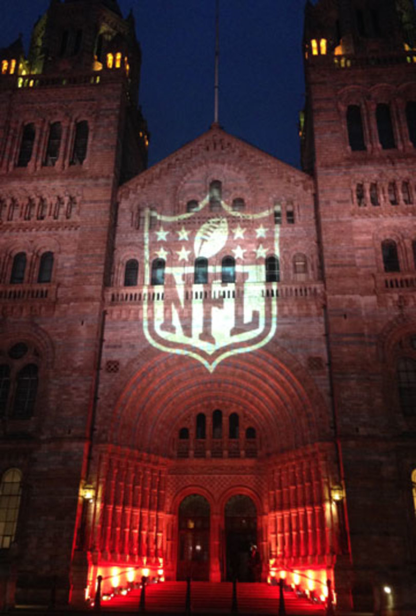 NFL branding, like this logo displayed on the Natural History Museum, was ubiquitous in London last week. (Jenny Vrentas/The MMQB)