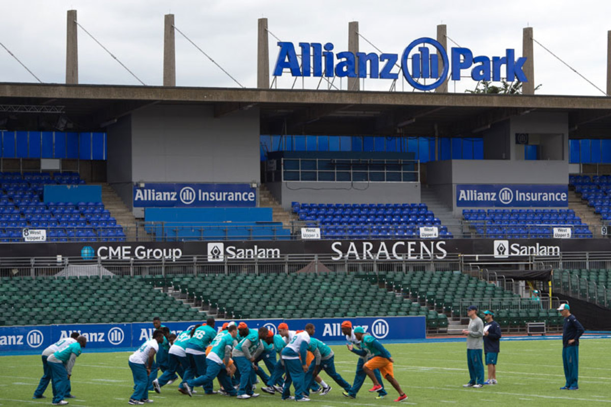 The Dolphins' Friday walkthrough at the home of rugby club Saracens. (Tim Ireland/AP)