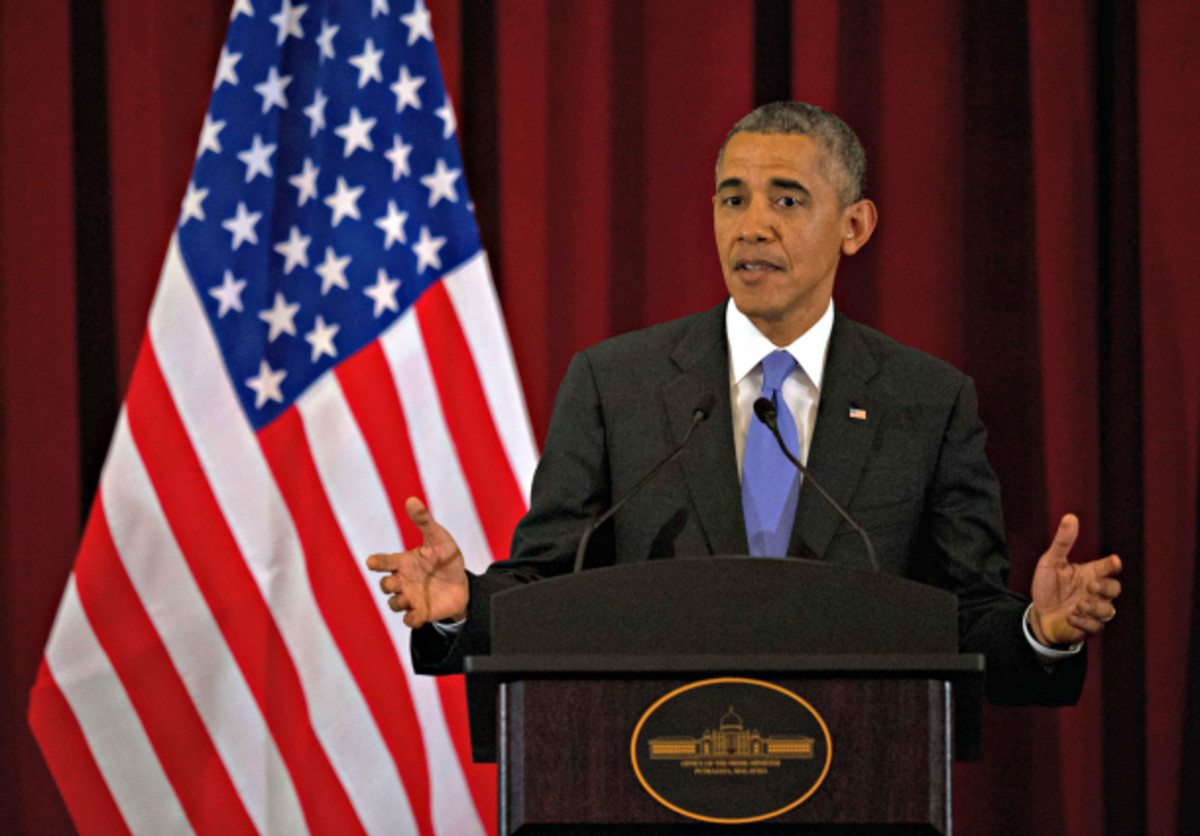 President Barack Obama was asked about Clippers owner Donald Sterling during a press conference in Malaysia on Saturday. (MOHD RASFAN/AFP/Getty Images)