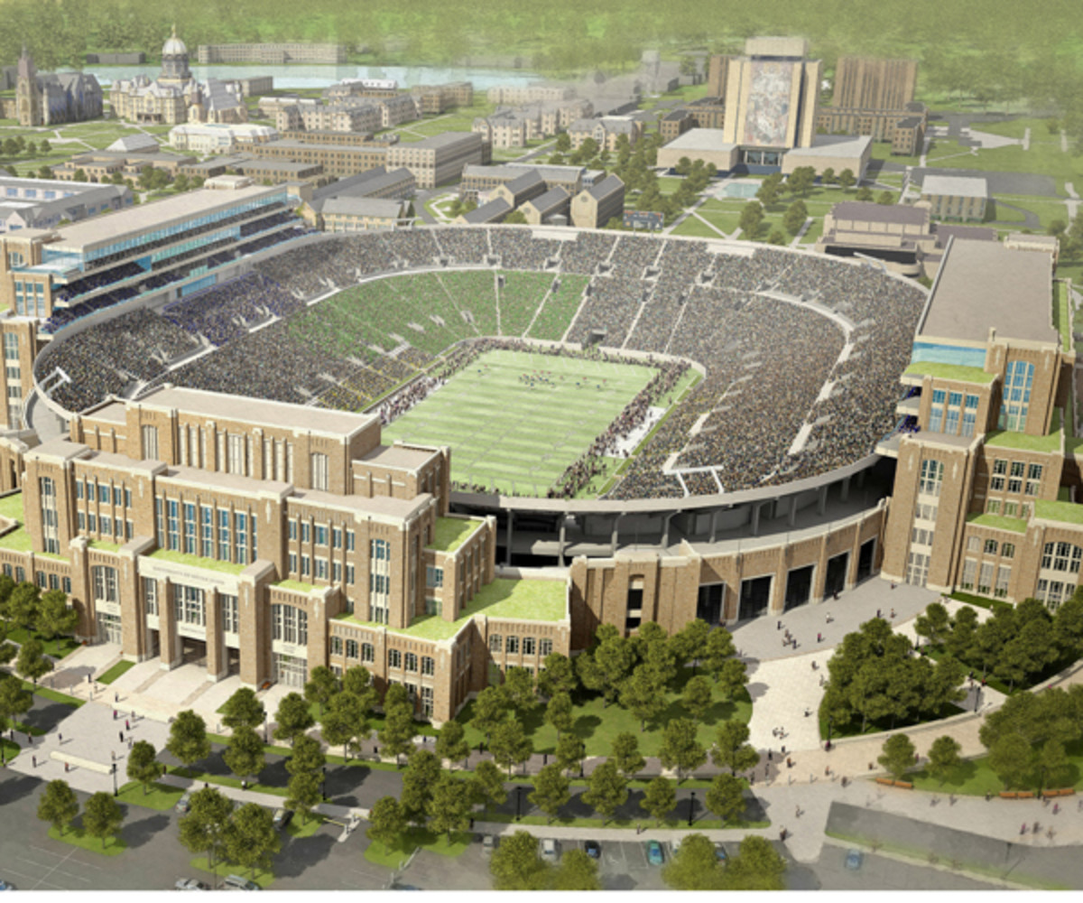 An artist's rendering shows the new structures on the west, south and east sides of Notre Dame Stadium.