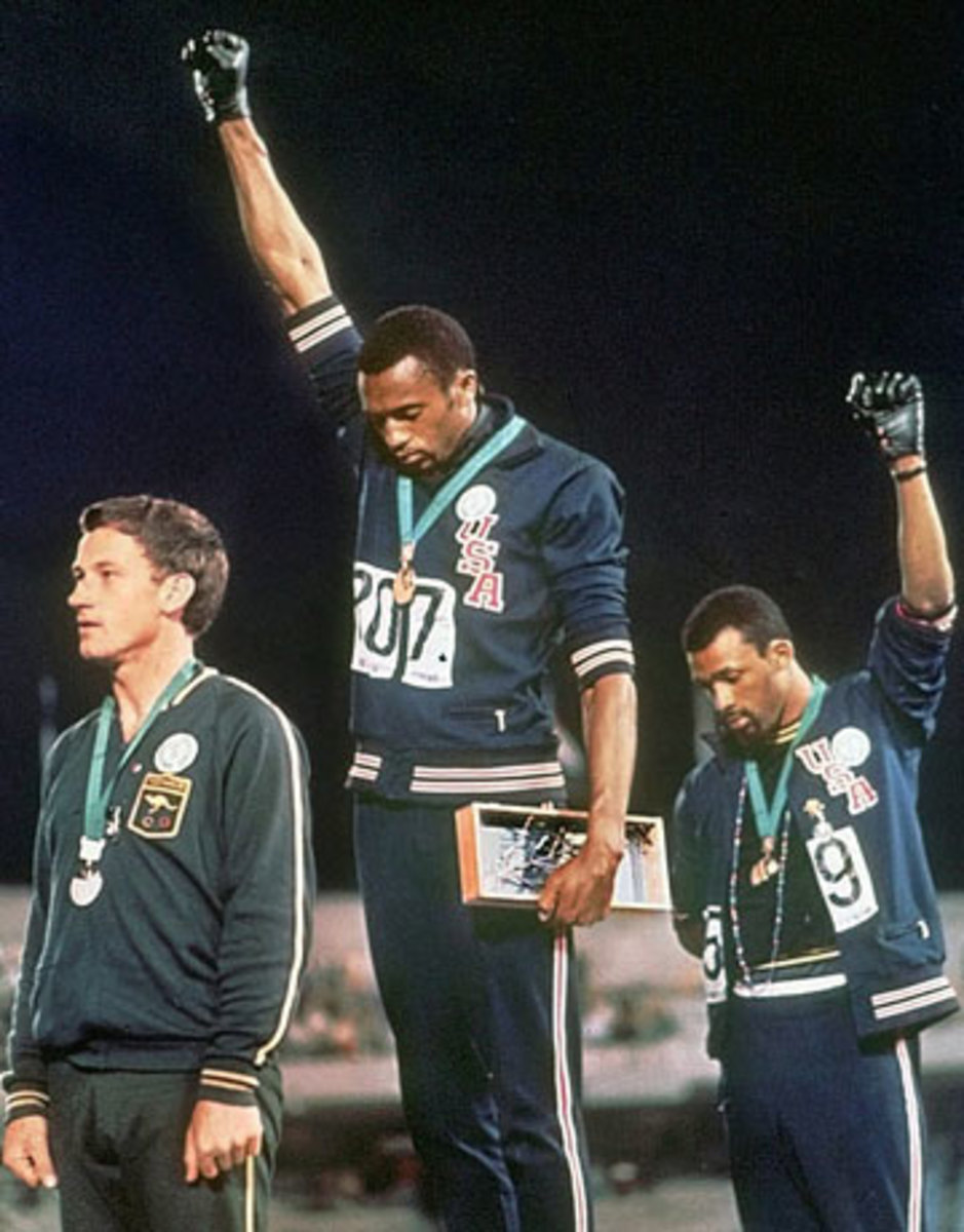 Today's black athletes are still inspired by the gesture of Smith and Carlos in Mexico City in '68. (AP)