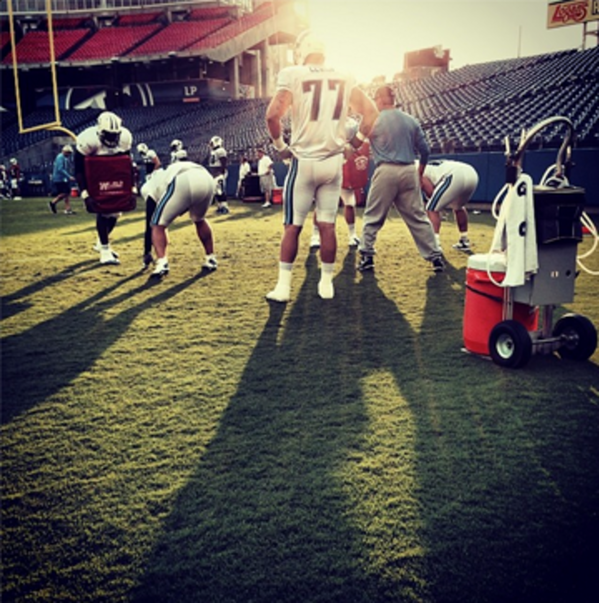 Taylor Lewan already casting a large shadow in Tennessee. #themmqbtour #tennesseetitans (follow us at Instagram.com/TheMMQB)