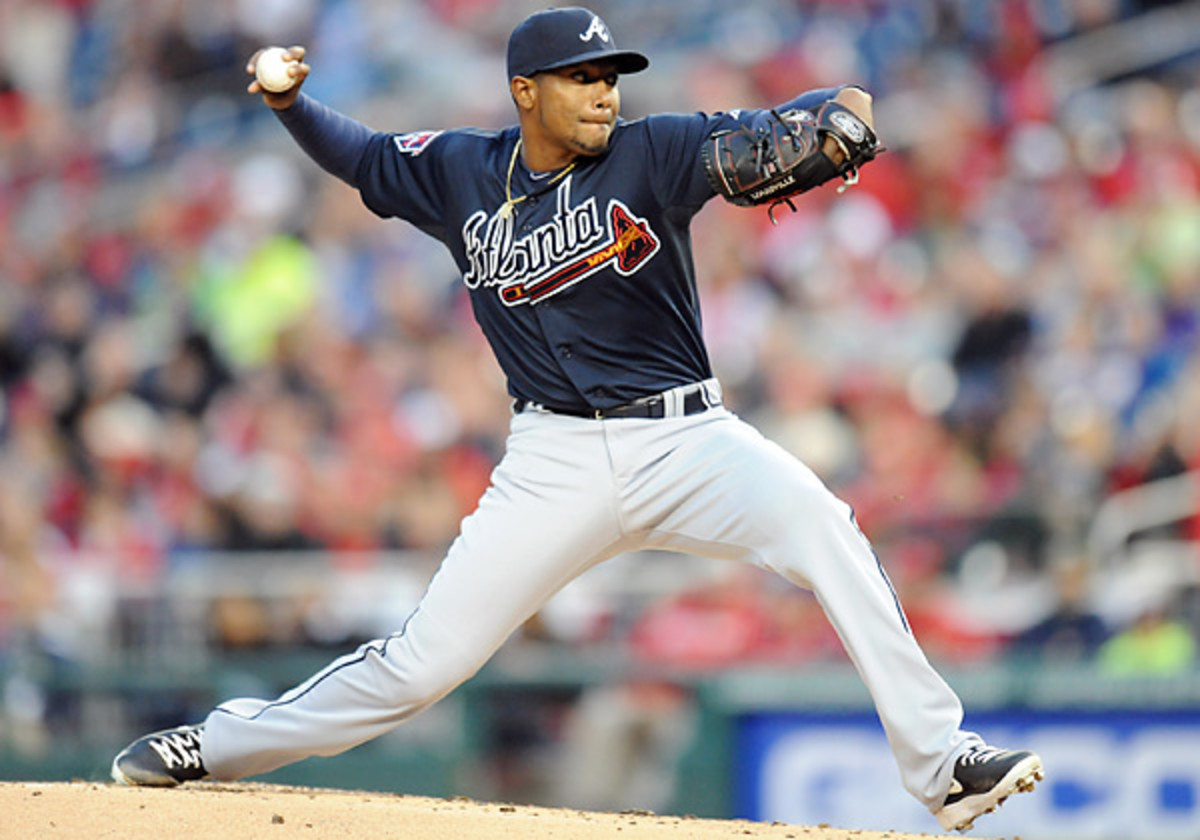 Julio Teheran has allowed four runs in two starts for the fast-starting Braves this season. (Mitchell Layton/Getty Images)