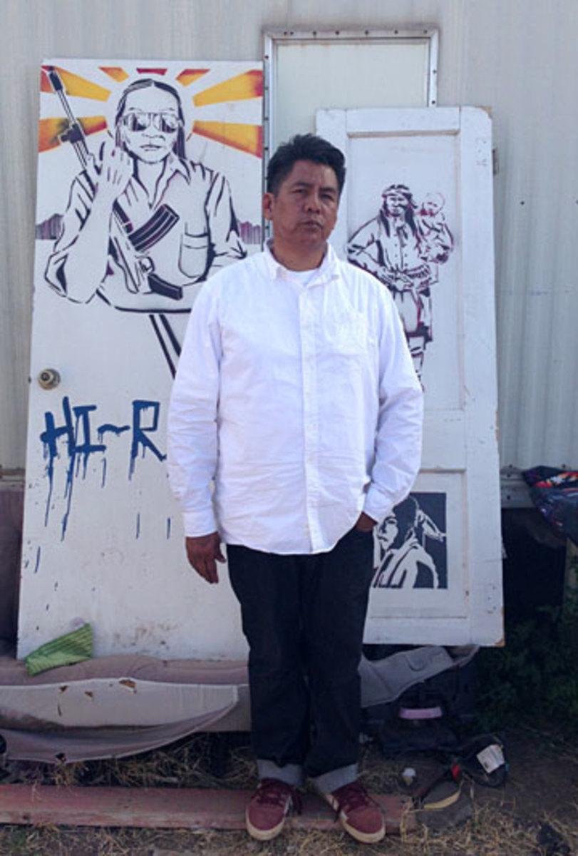 Artist Douglas Miles on the San Carlos Apache reservation in Arizona. (Jenny Vrentas)