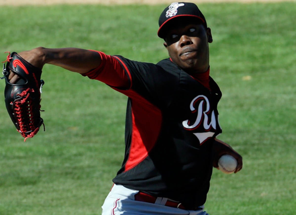 Aroldis Chapman has been out of action since suffering a facial fracture on a line drive in March.