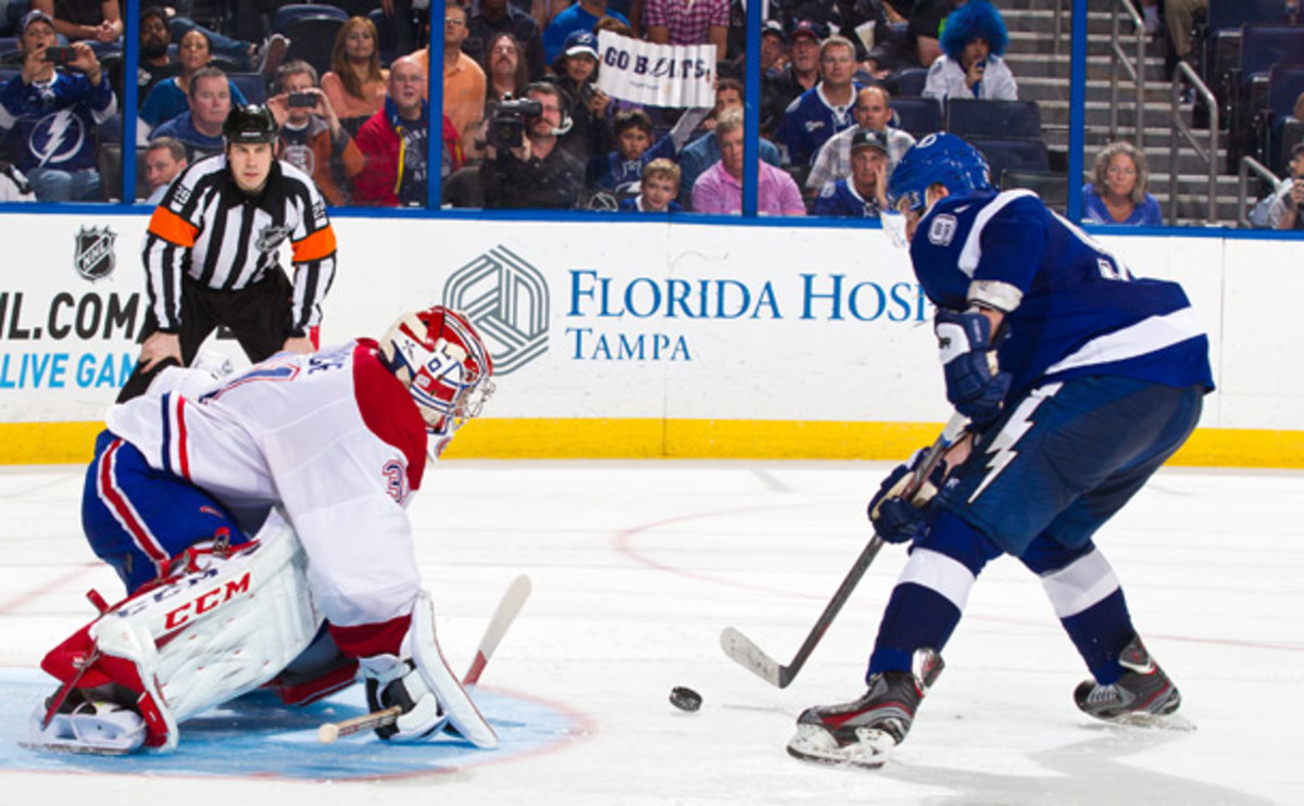 Carey Price of the Montreal Canadiens faces Steven Stamkos of the Tampa Bay Ligntning
