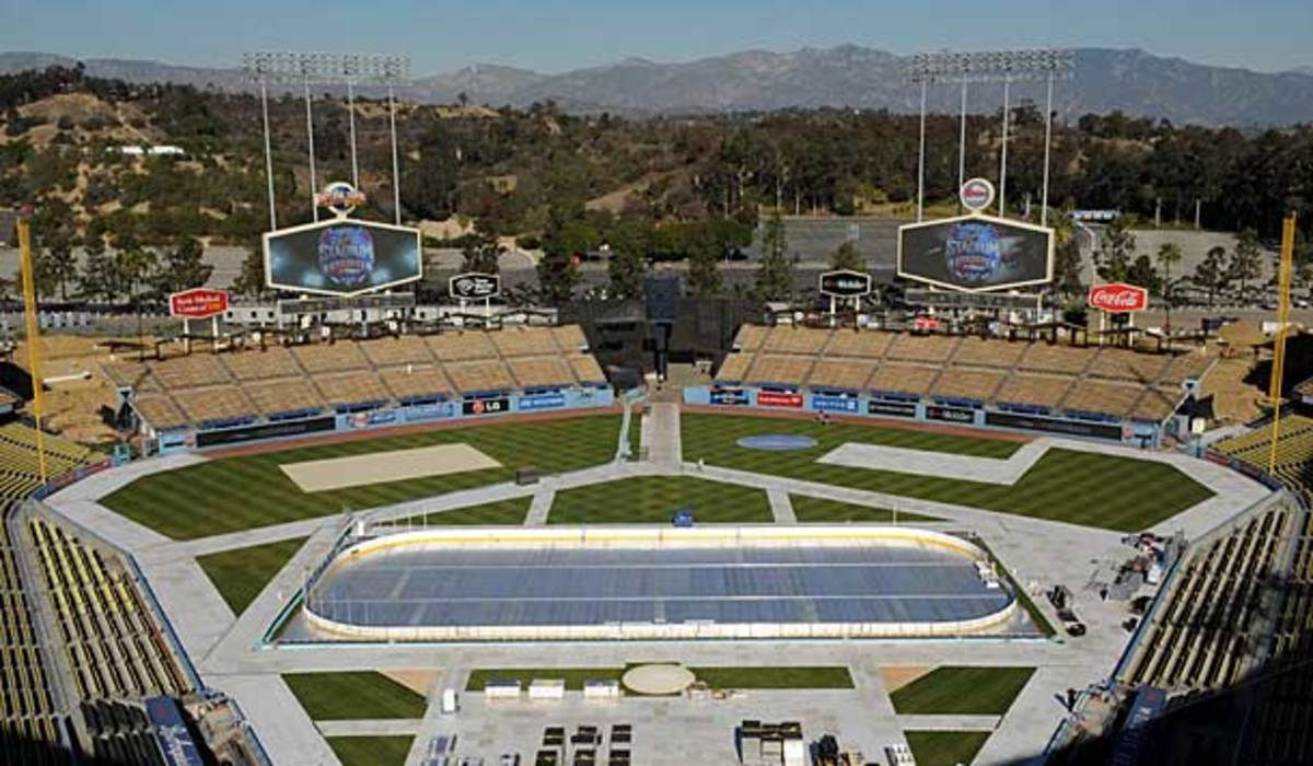 The NHL outdoor game rink at Dodger Stadium in Los Angeles