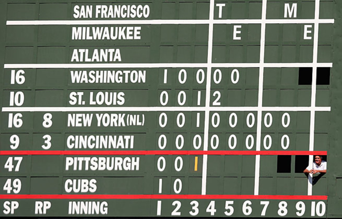 The hand-operated scoreboard in centerfield is one of Wrigley's most iconic touches.