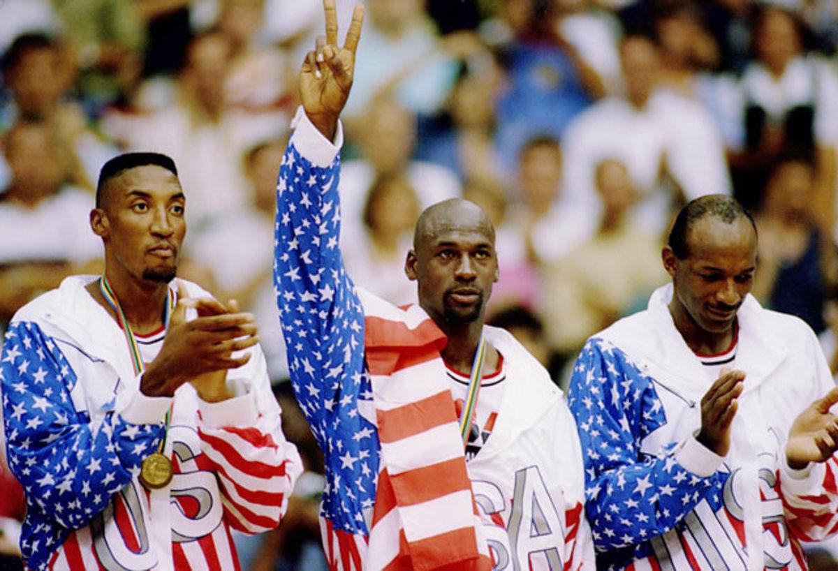 Scottie Pippen, Michael Jordan and Clyde Drexler