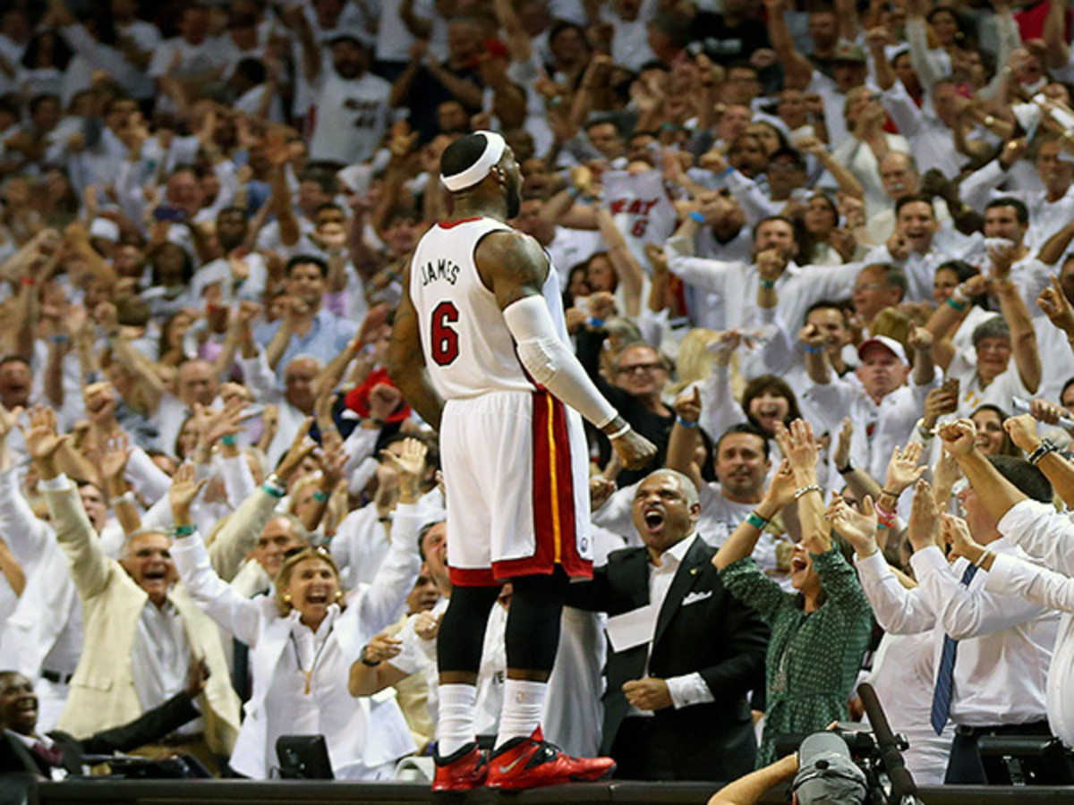 LeBron James scored 29 points to lead the Heat past the Nets in Game 5 (Mike Ehrmann/Getty Images).