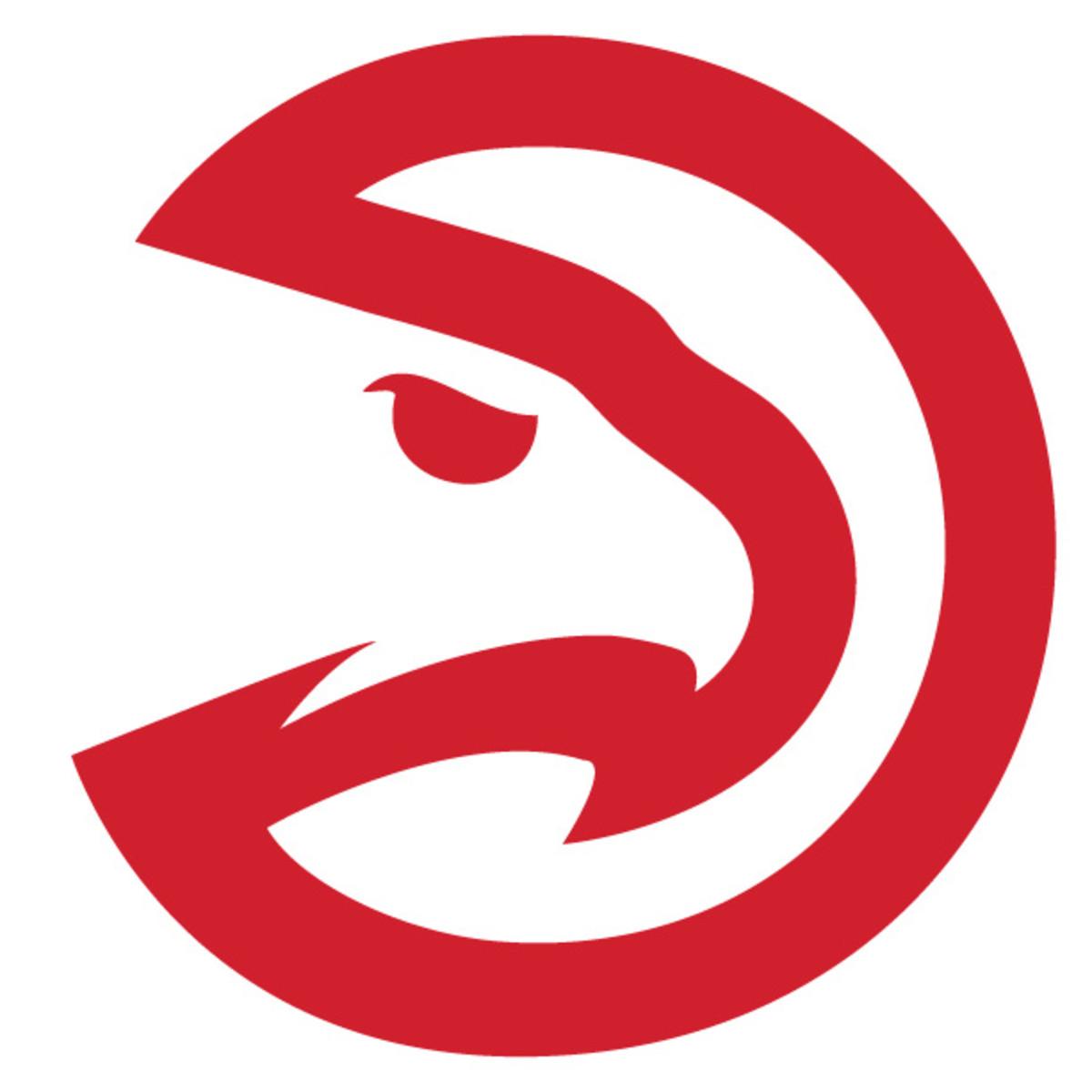 The Hawks' old logo (left) alongside their new secondary logo (right). (SportsLogos.Net)