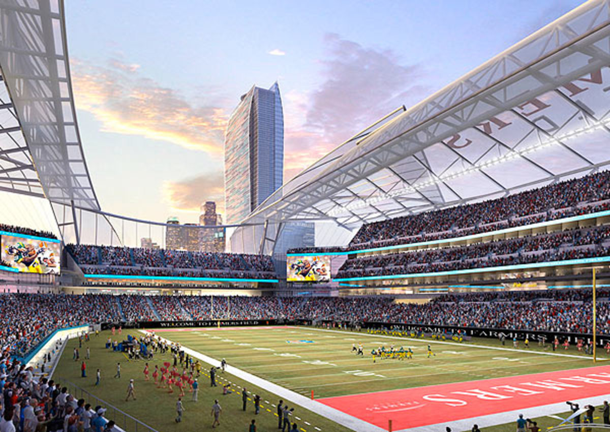 The proposal for Farmers Field would put an NFL stadium in downtown L.A., right next to Staples Center.