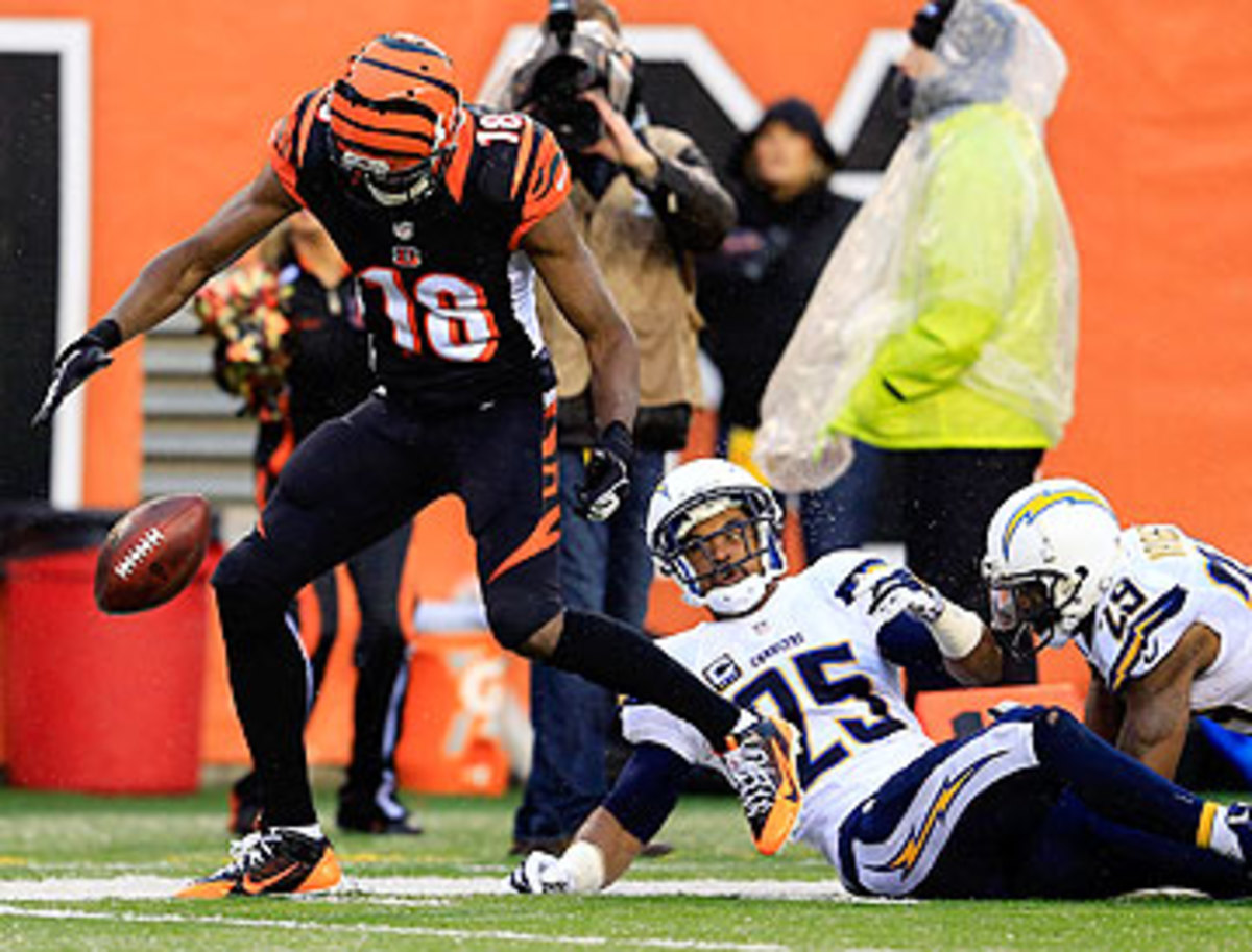 A.J. Green's drop of a likely touchdown might have changed the course of the Bengals-Chargers wild-card game. (Rob Carr/Getty Images)