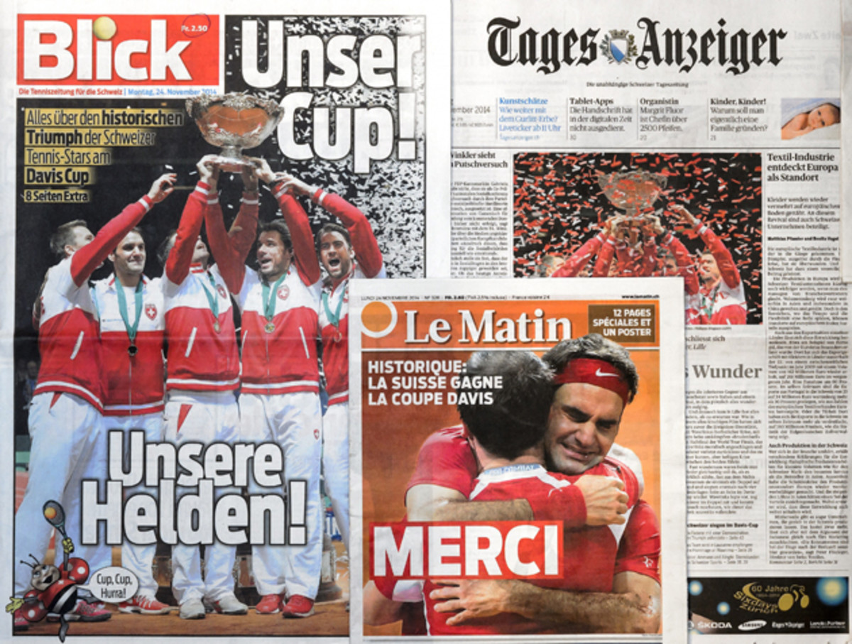 The frontpages of Swiss newspapers in Lausanne.