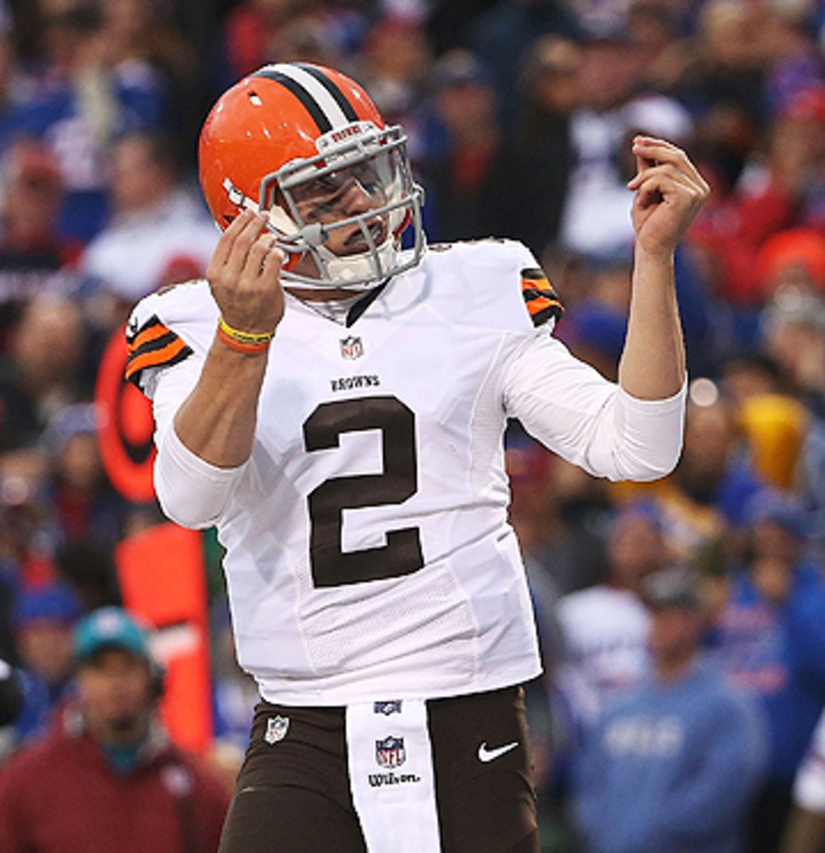 Entering the game in the fourth quarter, Manziel led an 80-yard TD drive. (Tom Szczerbowski/Getty Images)