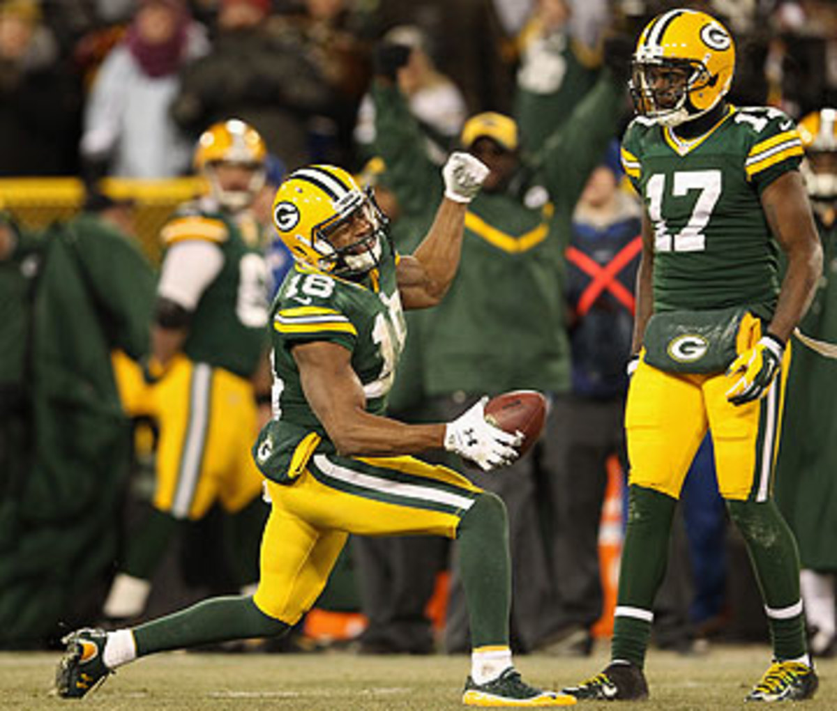 Randall Cobb's clutch grab to convert a first down sealed the win for the Packers. (Christian Petersen/Getty Images)