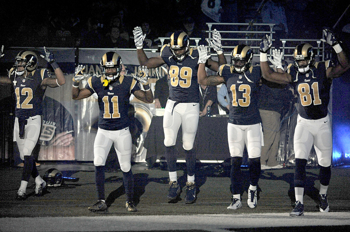 Rams receivers entered the field with a message on Sunday. (L.G. Patterson/AP)