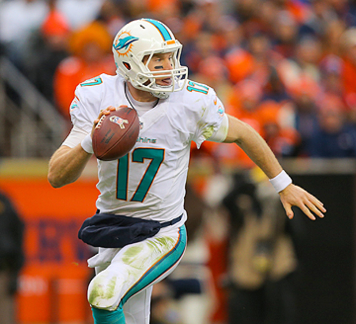 Tannehill's play in a new system has kept Miami in the playoff hunt. (Justin Edmonds/Getty Images)