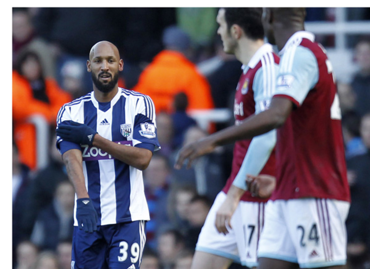 Nicolas Anelka made the quenelle gesture after scoring against West Ham in December. (Ian Kington/AFP/Getty Images)