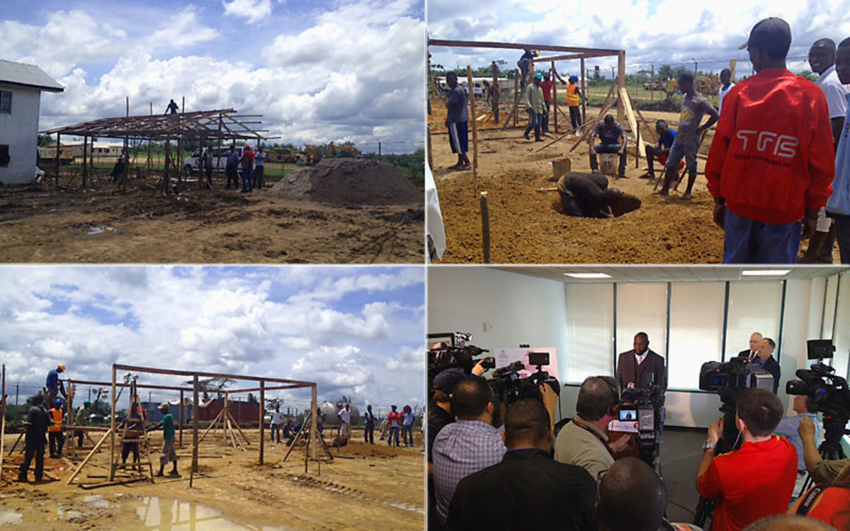 Pictures of an Ebola treatment unit being built in Liberia, and Hali (lower right) speaking at Heart to Heart International's press conference on Oct. 7 (Courtesy Heart to Heart International)