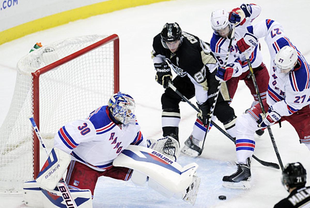 Henrik Lundqvist, Sidney Crosby, Ryan McDonagh, and Dan Girardi in NHL playoffs.