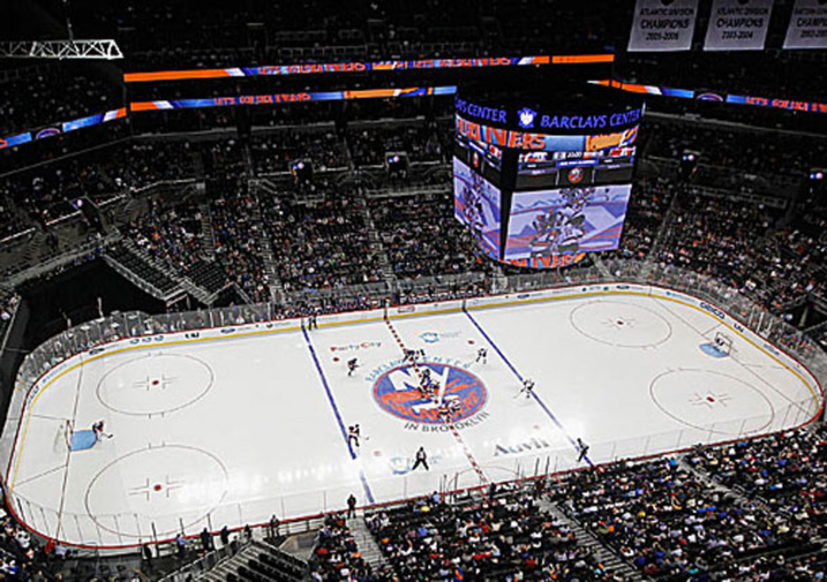 View of Barclays Center during New York Islanders game