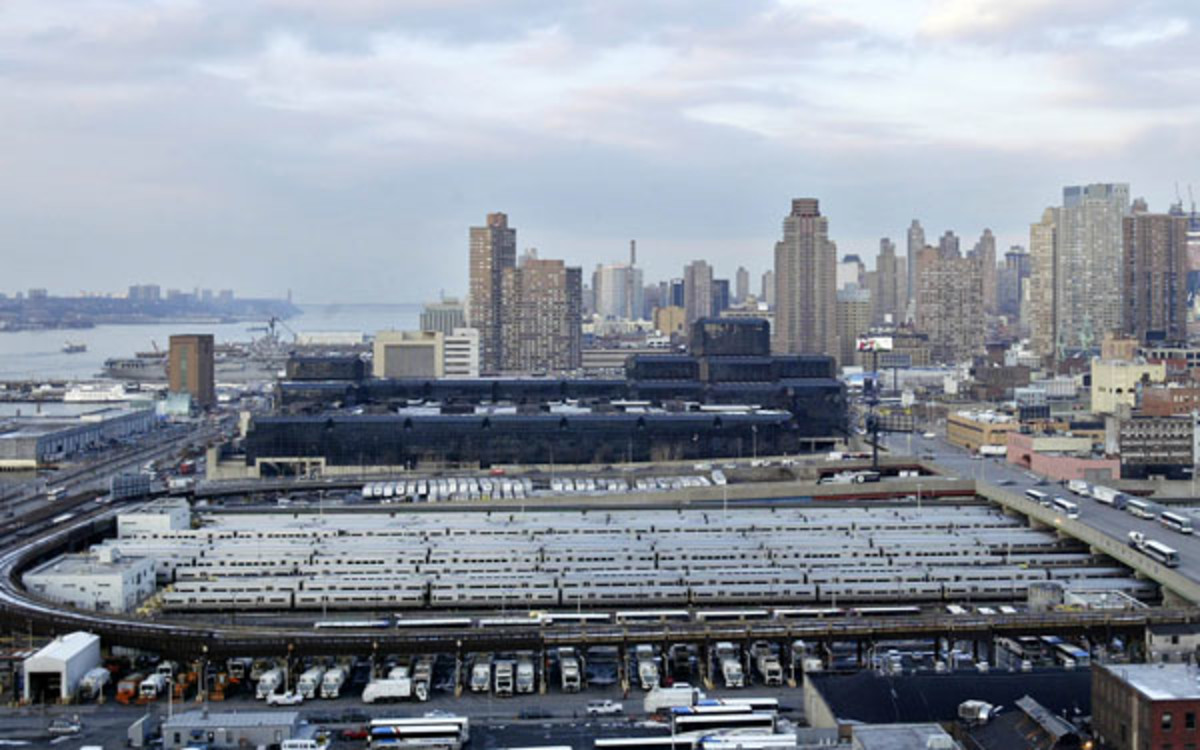 An overview of Manhattan's west side shows the rail yards where a proposed stadium would be built for New York's 2012 Olympics bid, in New York, Tuesday, Feb. 22, 2005. The view was offered to member(AP Photo/Gregory Bull)