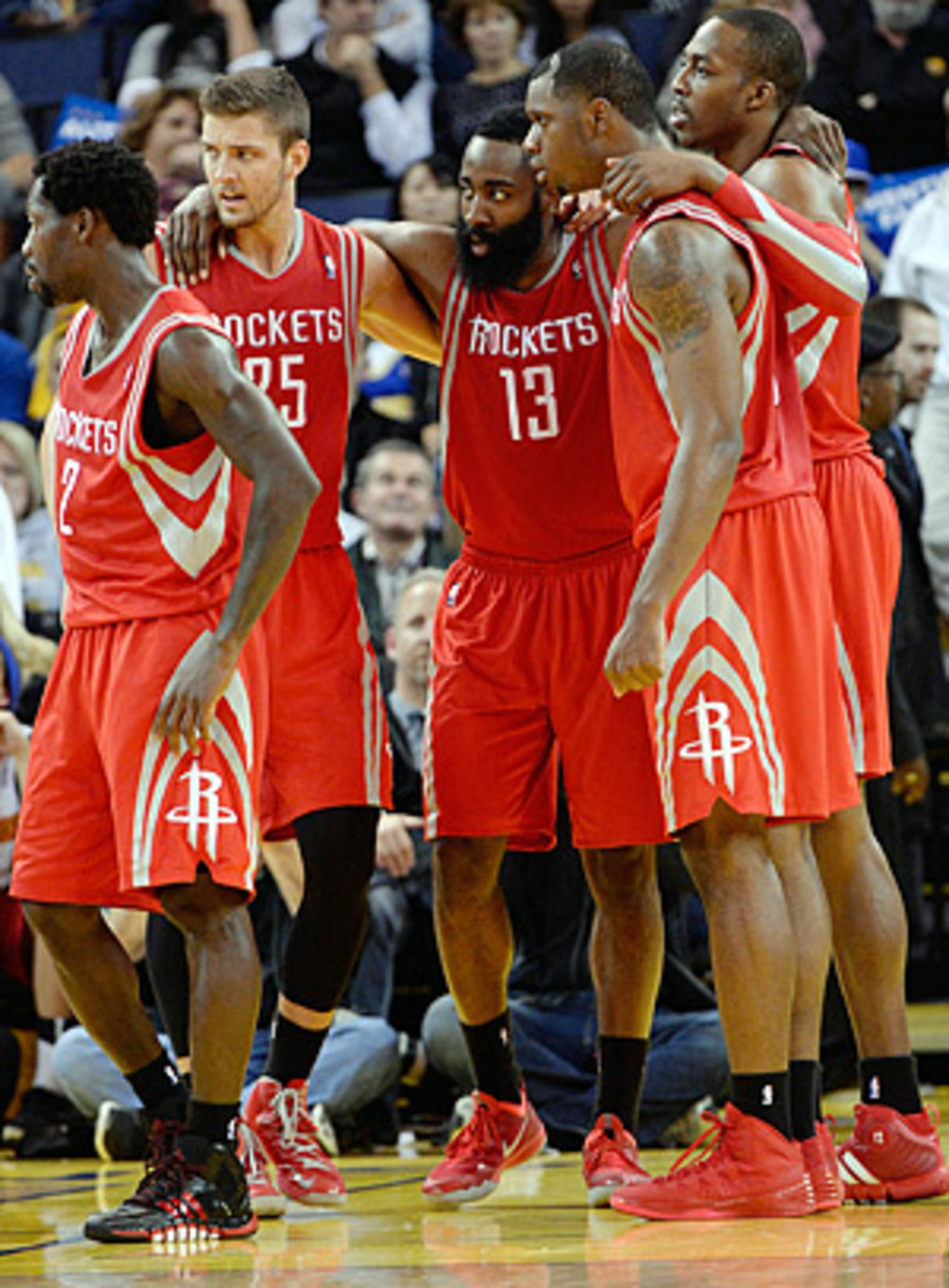 The Rockets' starting lineup of (from left)