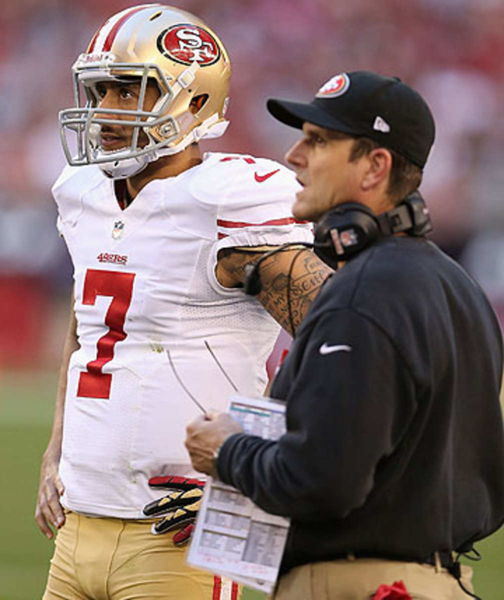 With Kaepernick as the quarterback, Jim Harbaugh's 49ers have reached two straight NFC title games, and three consecutive overall. (Christian Petersen/Getty Images)