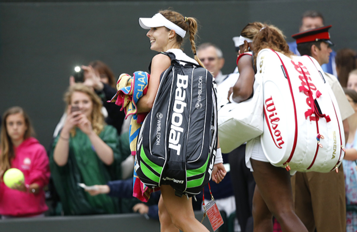 Alize Cornet's post-match celebrations were cut short by Serena Williams, who wanted to hustle off the court (Serena never leaves the court before her opponent).