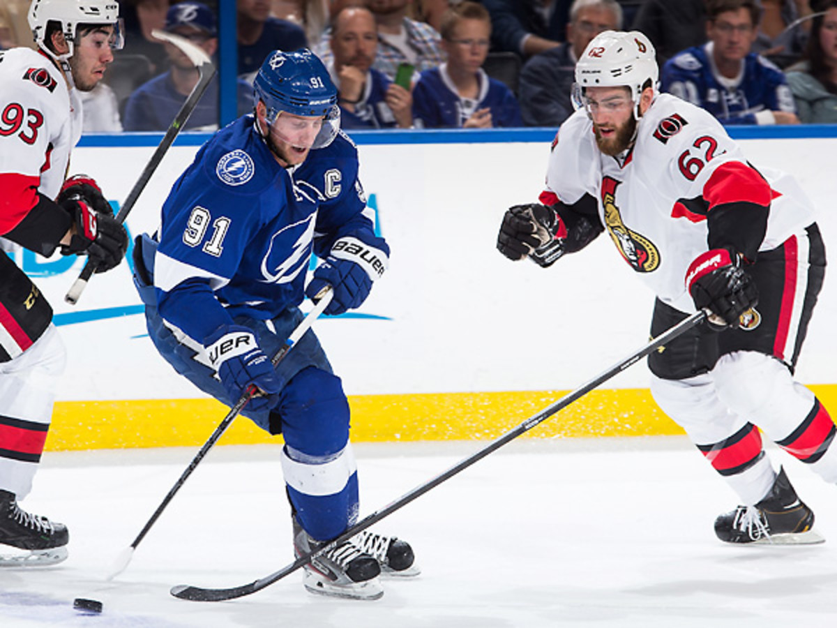 Steven Stamkos showed off why he's a star with a spectacular goal vs. Ottawa. (Scott Audette/Getty Images)