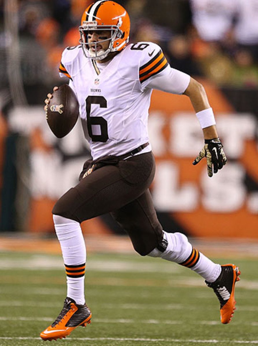 The Browns won't let Brian Hoyer—9-3 as Cleveland's starter—run to another team this offseason ... right? (Andy Lyons/Getty Images)