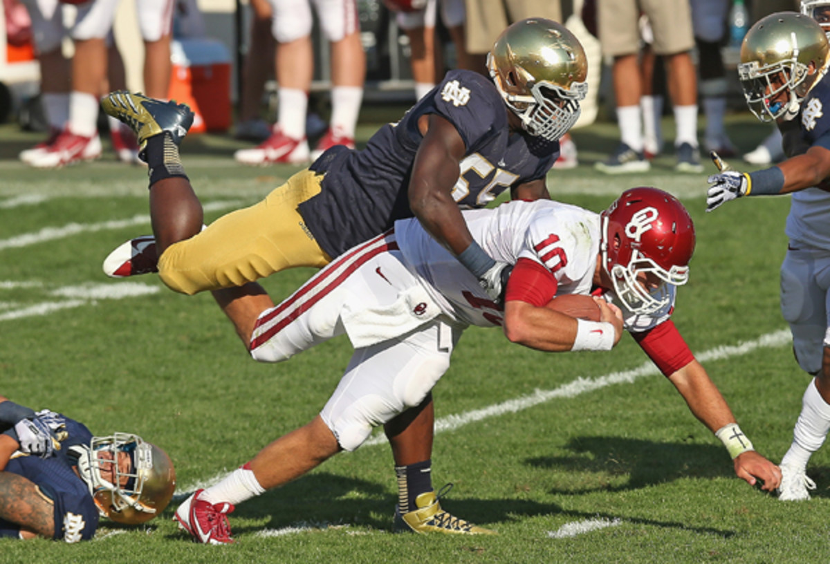 Notre Dame OLB Prince Shembo has proven to be a valuable and versatile defender. (Jonathan Daniel/Getty Images)