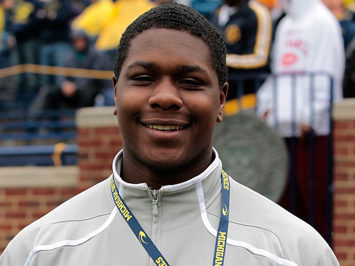 Five-star DE Malik McDowell, seen hereat Michigan, will be headed to rival Michigan State. (Leon Halip/Getty Images)