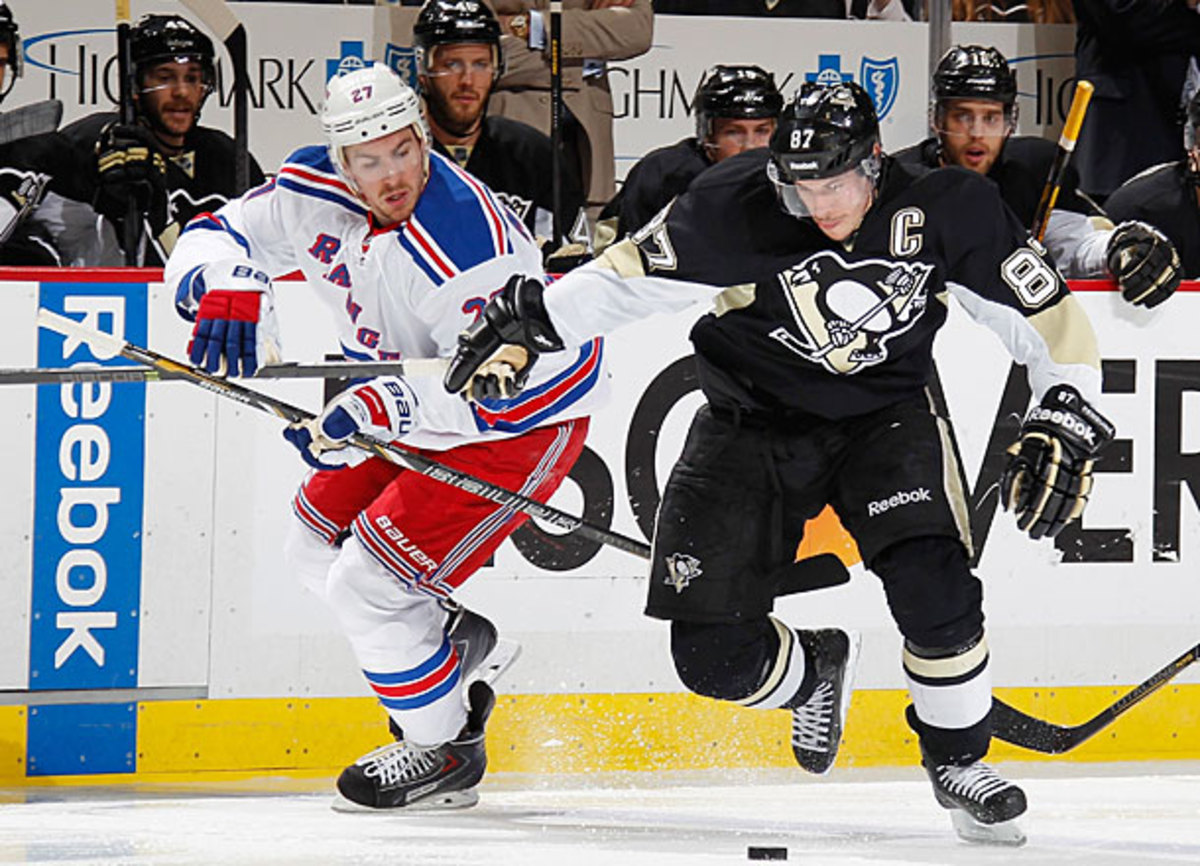 Sidney Crosby of the Pittsburg Penguins vs. the New York Rangers in NHL playoffs.