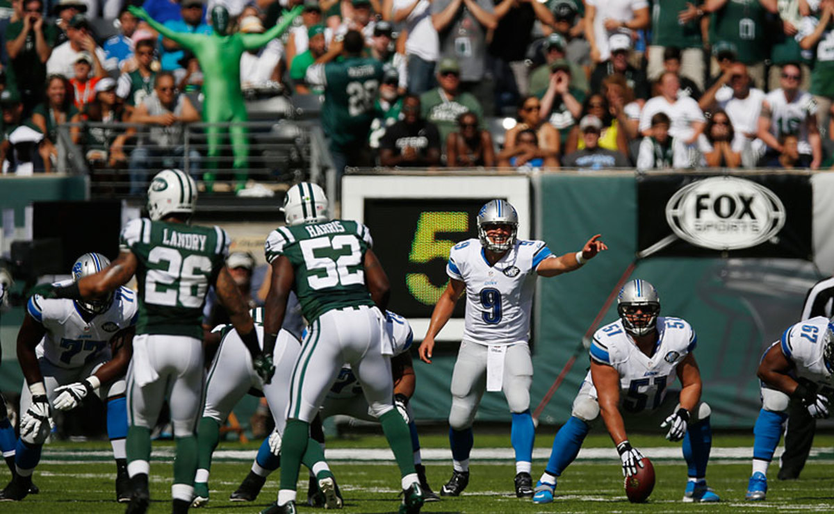Against a very good Jets defense, Matthew Stafford didn't commit a turnover and scored three touchdowns in helping the Lions improve to 3-1 on the season. (Frank Franklin II/AP)