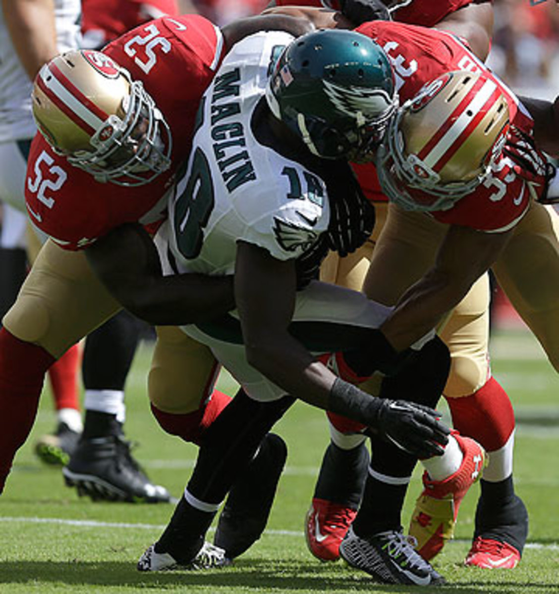 The 49ers defense dominated the Eagles, not allowing Philly to cross midfield until the fourth quarter. (Marcio Jose Sanchez/AP)