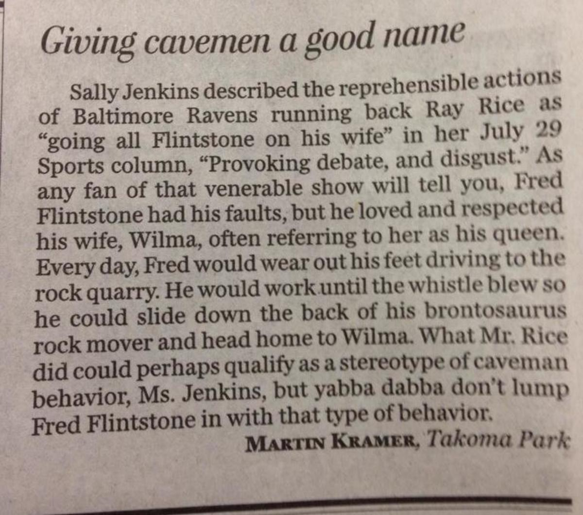 Letter to the editor objects to Fred Flinstone being compared to Ray Rice