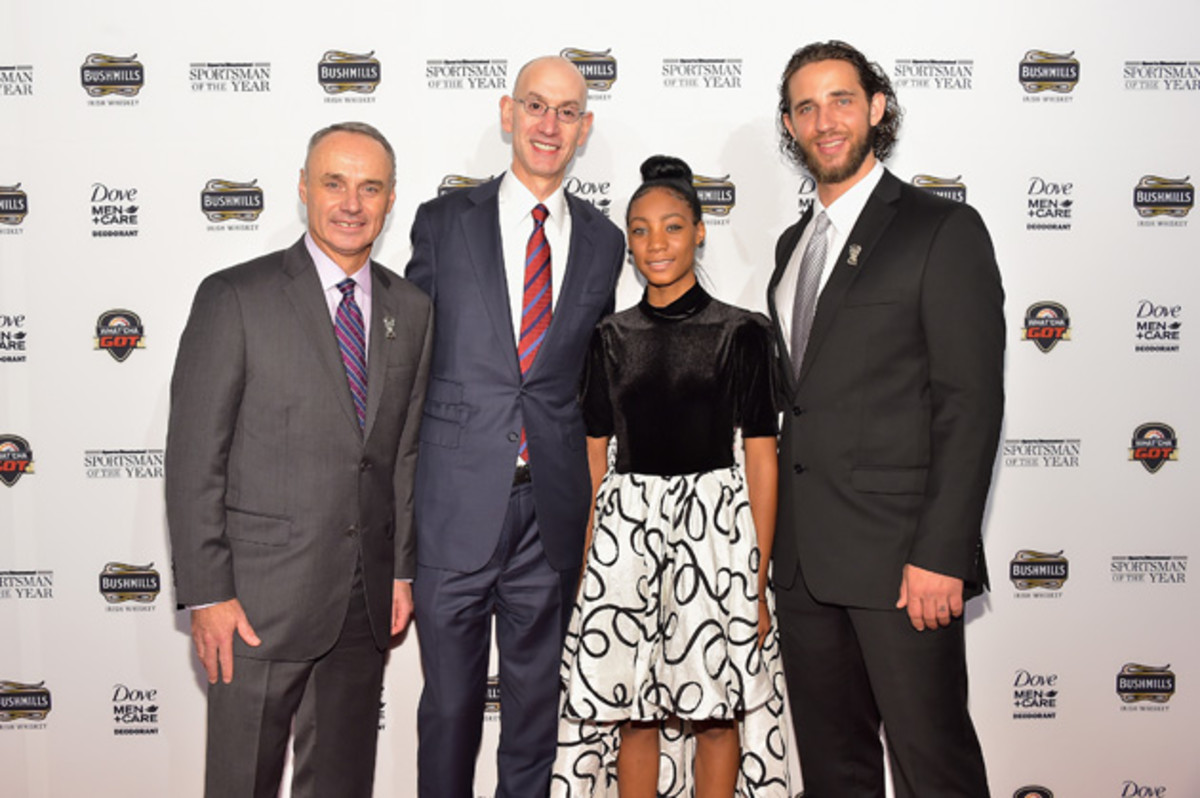 Rob Manfred, Adam Silver, Mo'ne Davis and Madison Bumgarner attend the Sportsman of the Year 2014 ceremony.