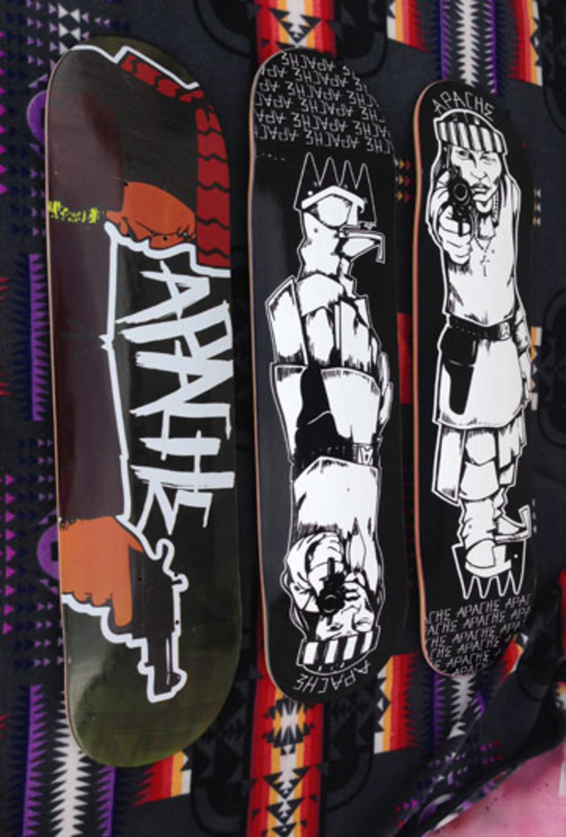 Douglas Miles's Apache skateboards. (Jenny Vrentas)
