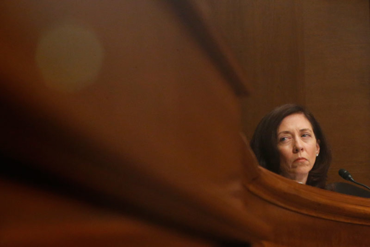 Sen. Maria Cantwell of Washington state, who is working with her constituents in opposition to the team name. (Charles Dharapak/AP)
