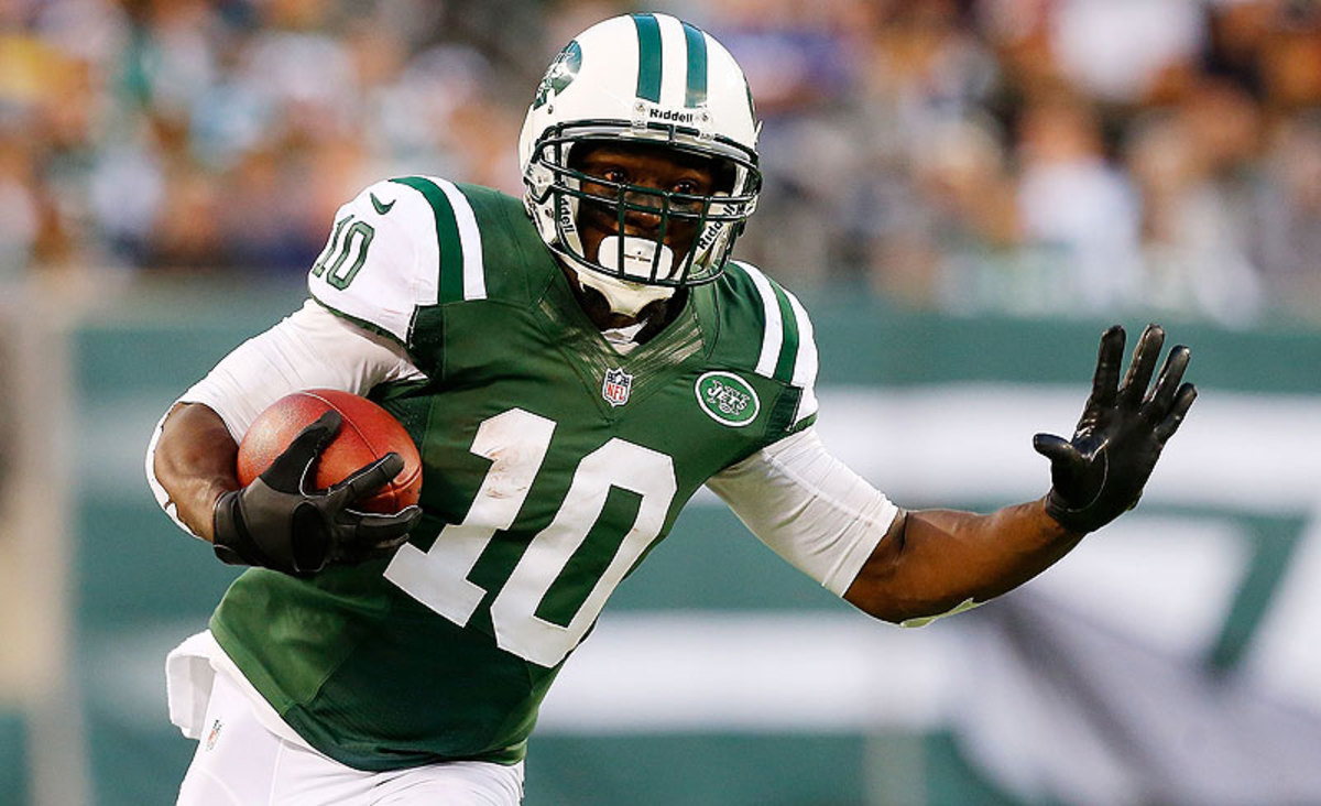 New Bear Santonio Holmes has only played 15 games over the past two years, and his last 1,000-yard season came in 2009. (Jim McIsaac/Getty Images)