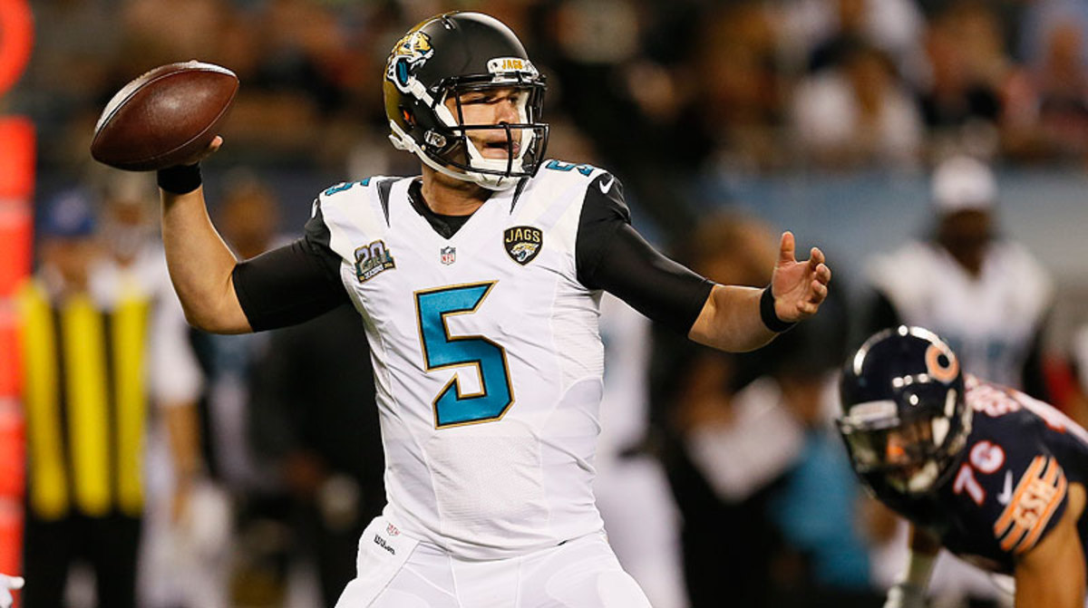 In two preseason appearances, Jaguars rookie Blake Bortles has attempted 28 passes, completing 18, with no interceptions. (Andrew Nelles/AP)
