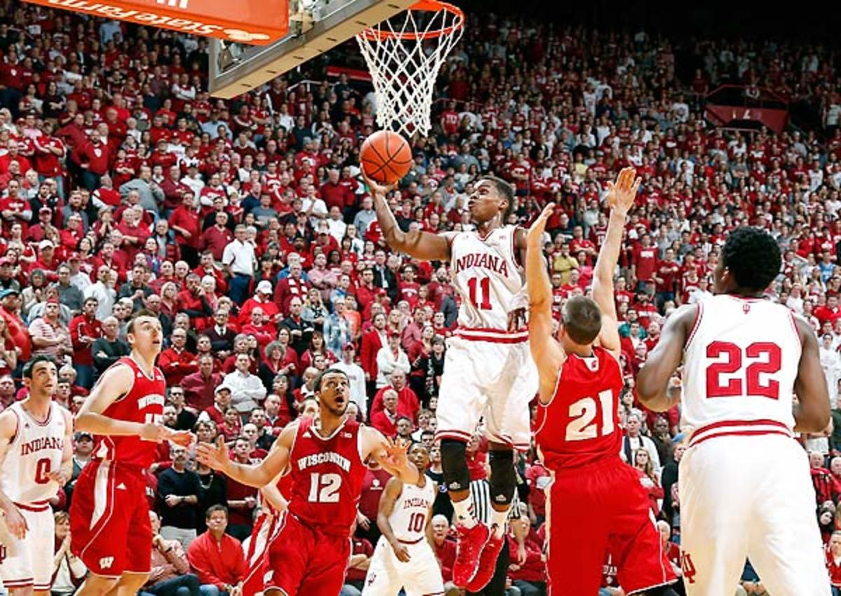 The normally staunch Wisconsin defense caved to Indiana's dribble penetration.