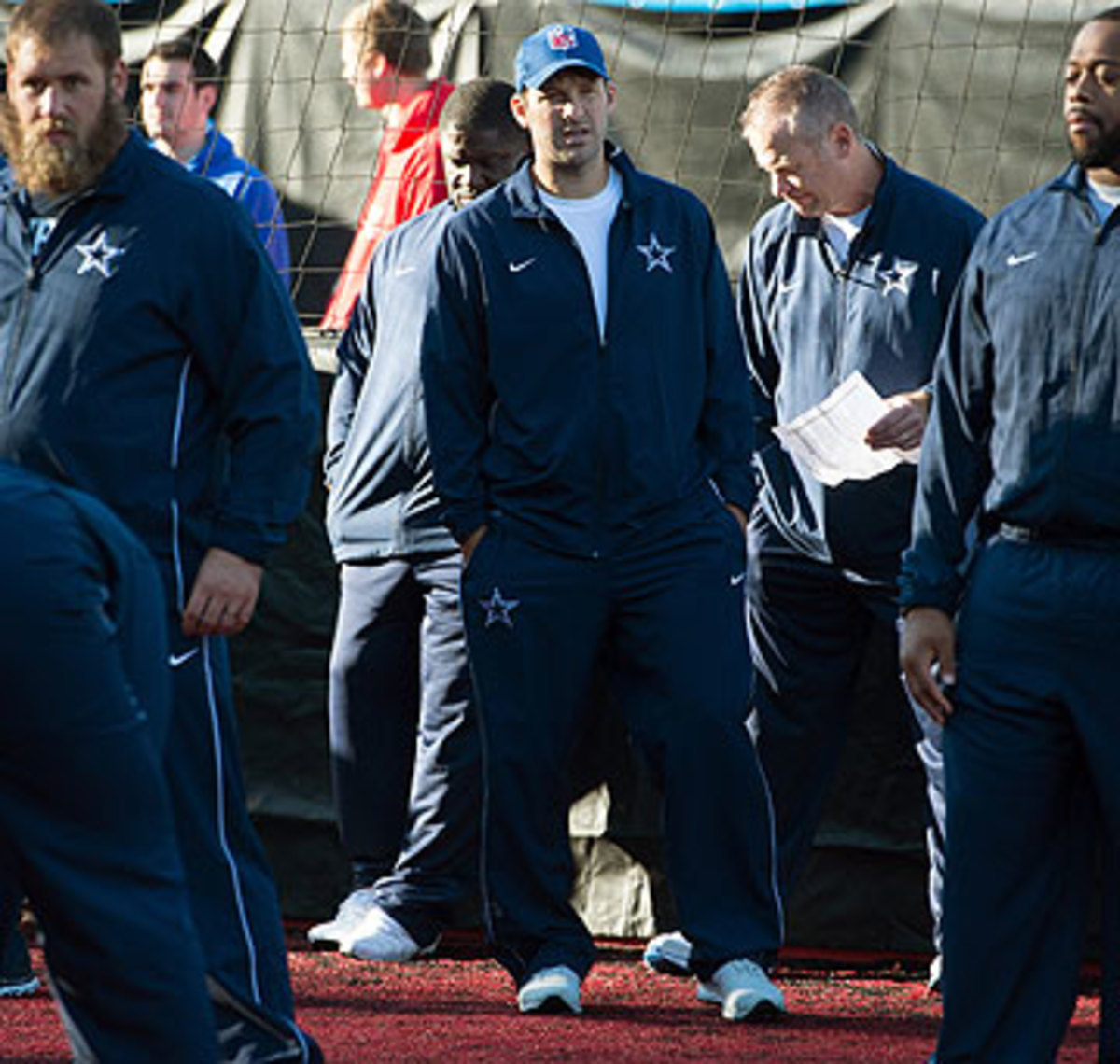 Tony Romo might be a bystander for the Cowboys-Jaguars game in London. (Tim Ireland/AP)