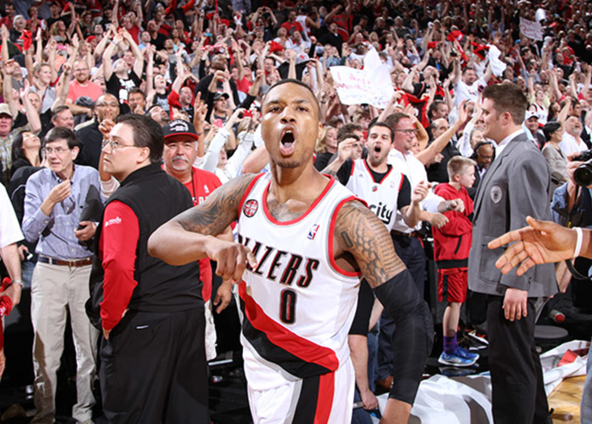 Damian Lillard help the Blazers win their first playoff series since 2000. (Steve Dykes/Getty Images Sport)