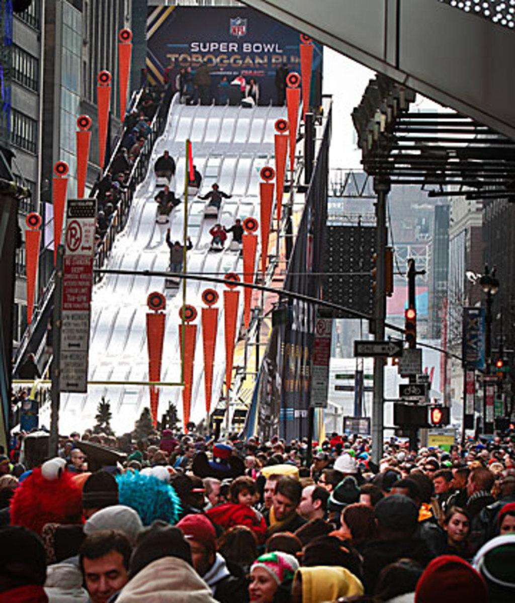 Fans swarmed Super Bowl Boulevard in midtown Manhattan last week. (Bebeto Matthews/AP)