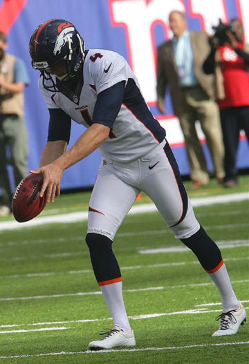 Broncos punter Britton Colquitt averaged 42.0 yards on five punts at MetLife in September. Winds were a scant 3 mph. (Richard Brightly/Icon SMI)